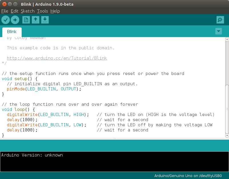 De voorbeeldcode om een LED te laten knipperen met behulp van een Arduino